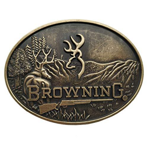 Xwest Belt Buckle Browning Buckmark Belt Buckle Bronze Color Deer Country Hunting Fishing
