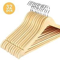 32 Cintres en Bois Crochet Couleur érable pivotant à 360° avec Barre Antidérapant pour Vêtements 44.5cm