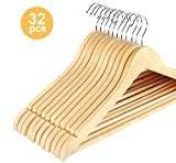 ilauke 32 Pack Wooden Coat Hangers Space Saving Clothes Hangers With NonSlip Trouser