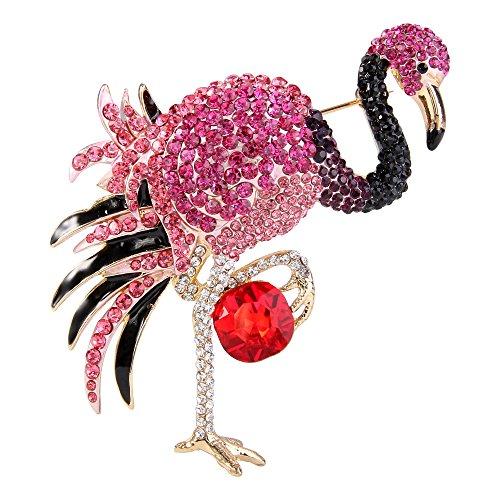 Flyonce Damen Kristall Emaille Elegant Flamingo Vogel Brosche Fuchsia Farbe Gold-Ton