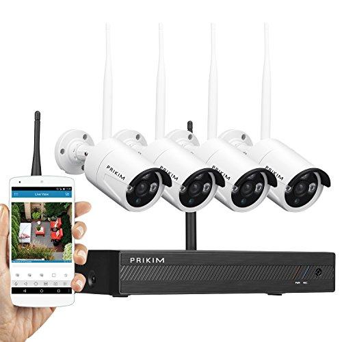 PRIKIM Drahtlose Überwachungskamera-System Wireless Überwachung kamera Recorder Set 1080P Video Security NVR mit 4 wasserdichten 720P Kameras Nachtsicht für Survellance CCTV kamera set W2 (Wireless Kamera überwachung Dvr)
