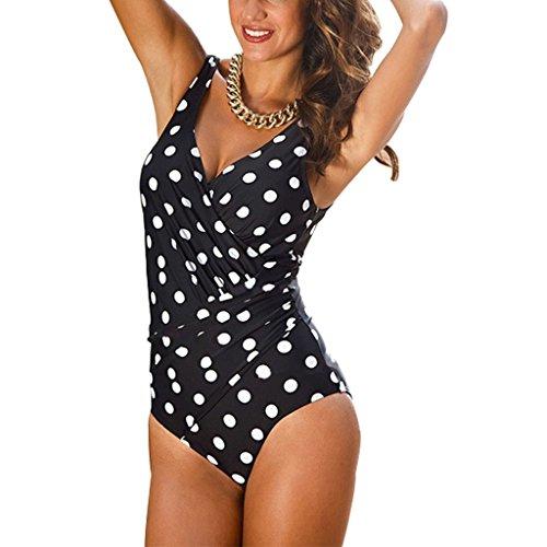 GWELL Damen Elegant Übergröße Einteiler Push Up V-schnitt Badeanzug Schwimmanzug Bademode punkt 3XL