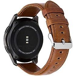 MroTech Correa de Reloj de Cuero Genuino Piel 22mm Pulseras de Repuesto Compatible para Samsung Gear S3 Frontier/Classic, Galaxy Watch 46mm, Moto 360 2nd 46mm, Ticwatch 1/Pro y más (Marrón, Grande)