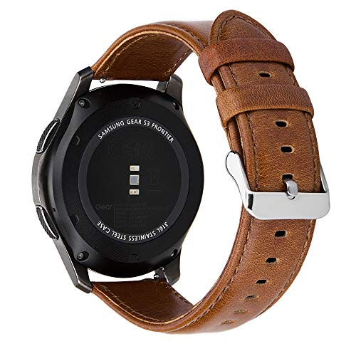 MroTech Lederamrband Gear S3 Armband echtes Leder 22mm Ersatzarmband kompatibel für Samsung Gear S3 Frontier/Classic,Galaxy Watch 46mm, Pebble Time, Huawei Watch 2 Classic Uhrenarmbänder (Braun, L) - Uhrenarmband Für Martian Notifier