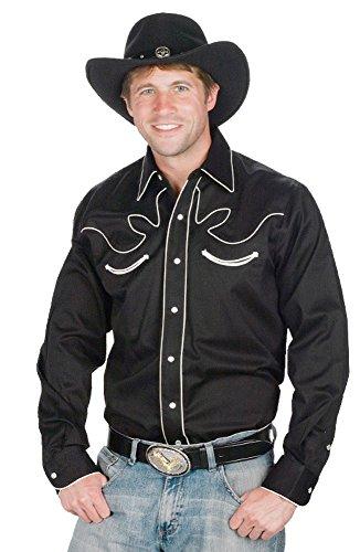 Para hombre 100% algodón Retro Western Express Cowboy camiseta negro negro L
