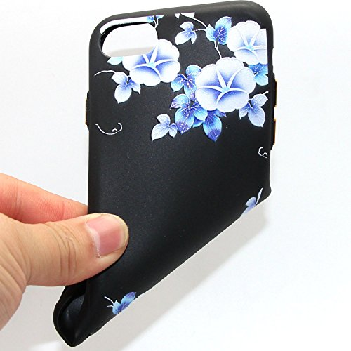 iPhone 7 Custodia, iPhone 7 Cover Nero, JAWSEU iPhone 7 [4.7] Protezione Case Cassa Gomma Morbida Gel Silicone Custodia per iPhone 7 Cover Protectiva Bumper per iPhone 7 Coperture Flessibile Liscio [ #6 Floreale