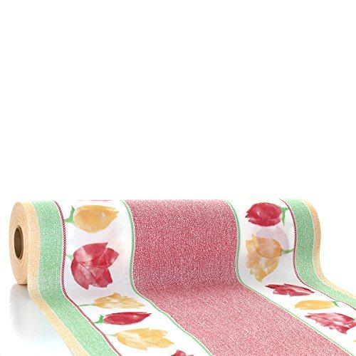 Sovie HORECA Tischläufer Heike | Linclass® Airlaid Tischläufer 40cm x 24m | Tischdecken-Rolle stoffähnlich | Einmal-Tischdecke für Hochzeit & Partys Rot-Grün (Rolle Restaurant-tischdecke)