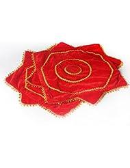 2 piezas de danza del pañuelo octogonal de la toalla roja de la flor del arte de la decoración WDSJ-01