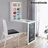 InnovaGoods Escritorio Plegable de Pared, Madera, Blanco,