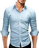 Merish Camicia Uomo Slim Fit 14 Colori Taglia S - XXL Modell 01 blu chiaro S