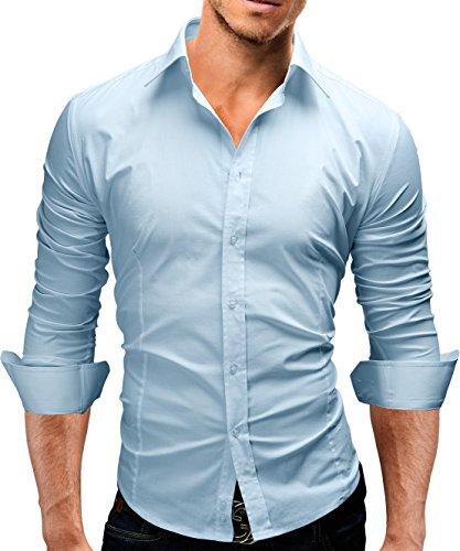 Mann Elasthan (MERISH Elegantes Herren Hemd Langarm Kent Kragen Slim Fit Neu 440 (XL, 440 Hellblau))