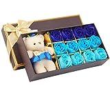 12 Pezzi Natale San Valentino Creativo I regali Orso Sapone Rose Forniture di nozze i fiori del sapone decorazioni per la casa 5 Colori (Blu)