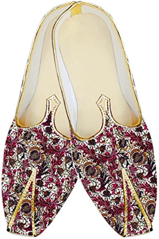 INMONARCH Hombres Zapatos de Boda de Seda de Yute Blanco Flores Impresas MJ18267