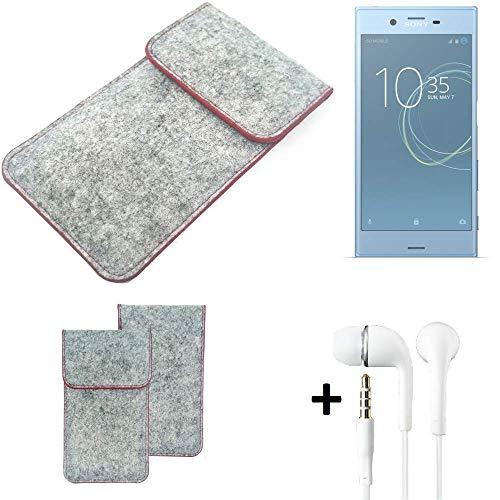 K-S-Trade® Filz Schutz Hülle Für -Sony Xperia XZs Dual SIM- Schutzhülle Filztasche Pouch Tasche Handyhülle Filzhülle Hellgrau Roter Rand + Kopfhörer
