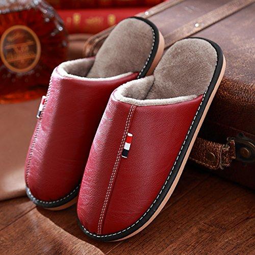 DogHaccd pantofole,Soggiorno pantofole in pelle di inverno, impermeabile home coppie di nervature di manzo spesse, antiscivolo in cotone indoor pantofole maschio Il vino è di colore rosso1