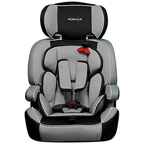 XOMAX XM-K3 Grey Autokindersitz + Gruppe I / II / III (9 - 36 kg) + ECE R44/04 geprüft + Farbe: Grau, Hellgrau, Schwarz + mitwachsend + 5-Punkte-Sicherheitsgurt + Kopfstütze verstellbar + Rückenlehne abnehmbar + Bezüge abnehmbar &