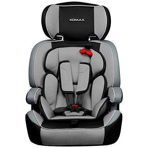 XOMAX XM-K3 + Seggiolino per auto + Adatto per i bambini tra 1 e 12 anni di età e di peso 9-36 kg + testato e approvato in ECE R 44/04 Gruppo 1/2/3 + colore nero / grigio + Cintura di sicurezza a 5-punti + il poggiatesta è regolabile + sedile per la clase III + Lo schienale è removibile