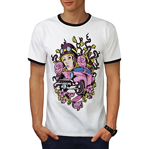Rosa Rose Jahrgang Auto Auto Rennfahrer Herren M Ringer T-shirt | Wellcoda Salon-wagen Rosa