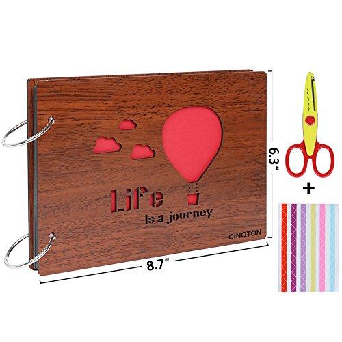CINOTON Selbstklebendes Scrapbook Album Wooden DIY Foto Album, Hollow Out Kreatives Jubiläumsalbum Book Memory Book + Free Geschenkec (Leben)