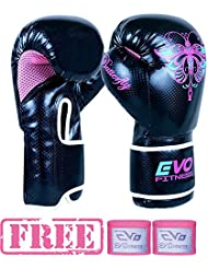 EVO Fitness Ladies GEL Rex Leather Boxing Gloves Punch Bag MMA Muay Thai Martial Arts Kick Boxing