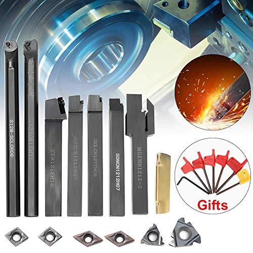 SISHUINIANHUA 7 STÜCKE Hartmetalleinsatz + 7 STÜCKE 12 MM Drehwerkzeughalter Bohrstange + Schraubenschlüssel Für Drehwerkzeug -