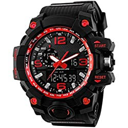SKMEI Mens Multifunction Digital Sport Watch, Heavy Duty, 165 FT Water resistant - Red