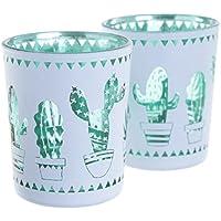 Juego de dos soportes de cactus de cristal vela votiva