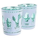 Glas Teelichthalter im 2er Set Kaktus