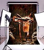 YongFoto 1,5x2,2m Vinilo Telón de Fondo West Cowboy Granero Cuero Vintage Montar Sillas de Montar Straw Gunny Bag Ric Fondo para Fotografia Fiesta Niños Boby Retrato Personal Estudio Fotográfico Accesorios