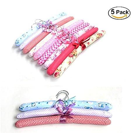EQLEF® 5 morceaux de coton Floral rembourrées Cintres souple en tissu (Cotone Imbottito Vestiti)