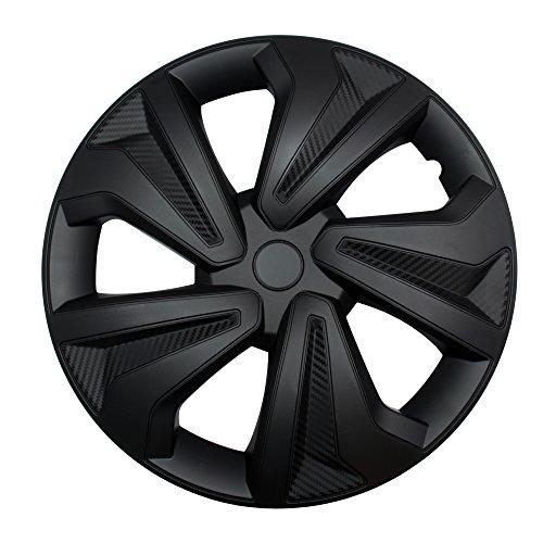"""4X Radkappen Carbon Black Auto Radzierblenden Schwarz 16\"""" Zoll"""