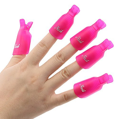 10Pcs Plastic Acrylic Nail Art Soak Off Clip Cap UV Gel Polish Remover Wrap Nail Tool (Rose-Red)