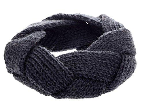 DELEY Donne Ragazze di Inverno Twist Archetto Maglia Crochet Fascia per Capelli Avvolgere la Testa Headwarmer Grigio
