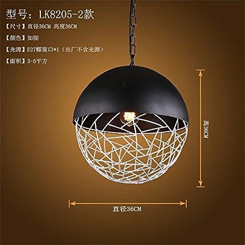 Lbcvh Nordic-stile retrò semplice e personalità creative bar ristorante illuminazione industriale di ferro lampadario (2 Ferro Loft)