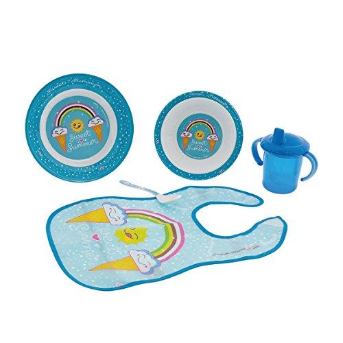 laken set de vaisselle en mélamine 5 pièces : Assiette creuse Grande, bol, tasse d'apprentissage, bavoir et cuillère, katuki saguyaki Sweet Summer