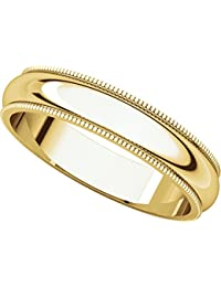 9ct Yellow Gold, Milgrain Wedding Band 4MM (sz H to Z5)