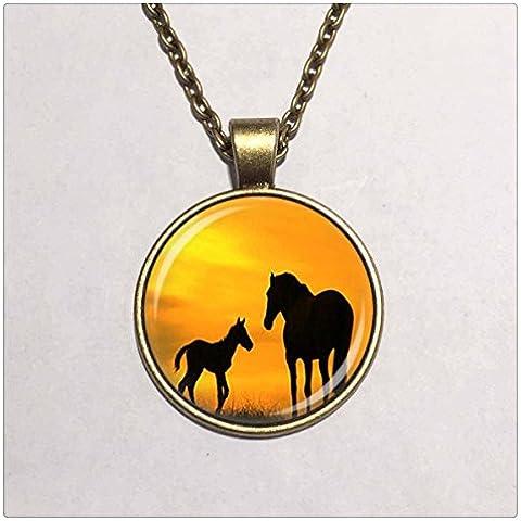 Cúpula de Cristal Colgante mamá y bebé caballos collar caballo joyas Animal amante collar