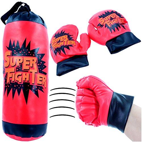 - Kinder Boxsack inkl. Gratis Handschuhe┃ NEU ┃ Boxset ┃ Sport ┃ Training ┃ Rot - Schwarz ┃ 1 Stück (Halloween-gäste-handtücher)