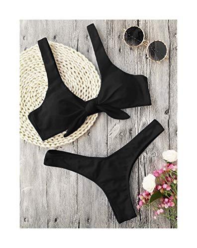 Bikini Knotted Padded Thong Bikini Set Women Swimwear Swimsuit Scoop Neck Solid High Cut Bathing Suit Brazilian Biquni Black L -