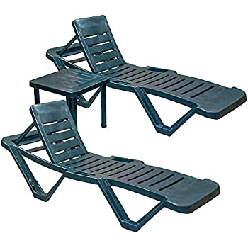 Resol Master Sun Lounger Plastic Adjustable Reclining UV Resistant Sunlounger (Twin Pack) & Matching Side Drinks Table - 3 Piece Garden Furniture Set - Green