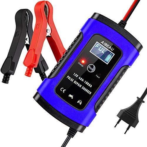 Aibeau Batterie Ladegerät Auto, Autobatterie Ladegerät 6A 12V Batterieladegerät Auto Erhaltungsladegerät mit LCD-Bildschirm Mehrfachschutz für Autobatterie, Motorrad, Rasenmäher oder Boot ...