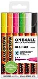 Molotow Acryl Marker One4All 127HS (Neon-Set mit 6 kräftigen Acrylfarben, 2mm Spitze, hochdeckend und permanent, für fast alle Untergründe)