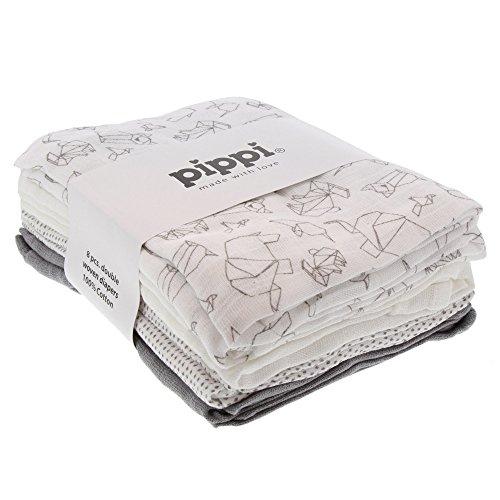Pippi 8er Pack Baby Unisex Windeln, Verschiedene Motive, Baumwolle, One Size, Farbe: Grau (Sleet), 3822