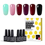 Lagunamoon Esmaltes Semipermanentes, 6pcs Kit de Uñas de gel UV LED,...