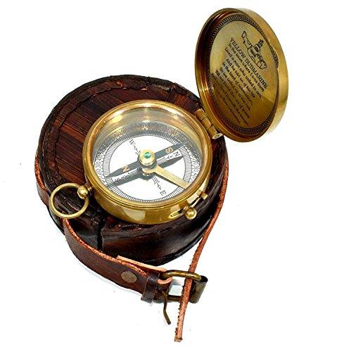 Hello.Nauticals.Store Messing-Kompass Lederbox The Beatle Finder Versilbert Kompass Geschenk Richtung Finder