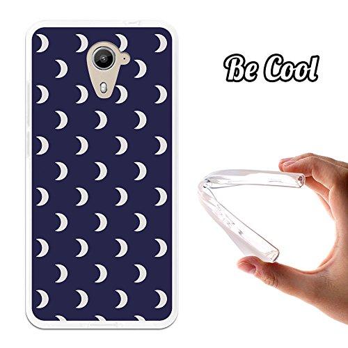 Becool® - Flexible Gel Schutzhülle für Wiko U Feel Prime, TPU Hülle aus bestem Silikon gefertigt, die dank unserem exklusivem Design sich einwandfrei an Ihr Smartphone anpasst und optimalen Schutz gewährleistet. Weiße Halbmonde