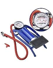 R_V Enterprise® High Pressure Foot Pump, Bike Motorbike Inflation Pump with Pressure Gauge, Foot Pedal Inflator Single Barrel Cylinder Air Pump Inflation Pump for Personal Use