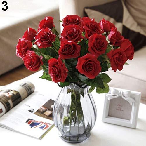 Homeofying 10 Stück künstliche Latex-Rosen Blumen Hochzeit Party Büro Tisch Bouquet Home Decor für Hochzeit für Baby Jungen oder Mädchen Zimmer rot