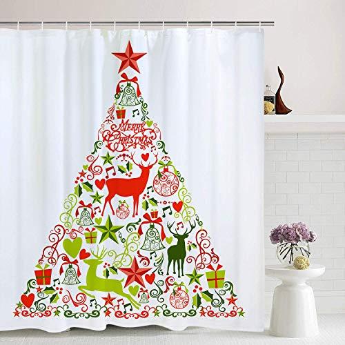 TANGGOOD Weihnachtsduschvorhang Weihnachtsschmuck Kollektion Bad Vorhang Weihnachtsschmuck und Star Tree Topper Bad Dekor -