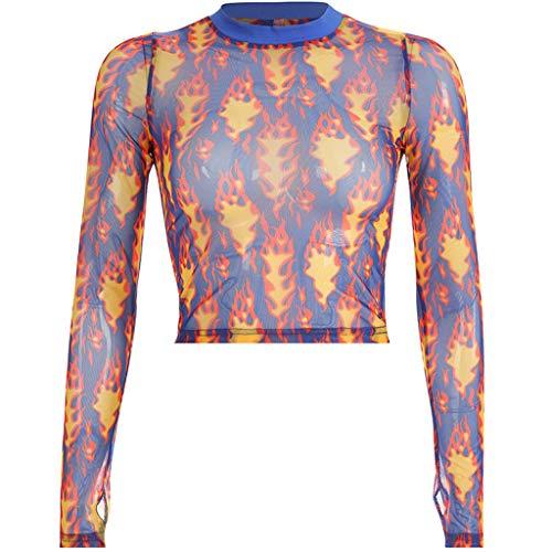 T-Shirt Frauen Bauchfrei Mode Tops Oansatz Perspektive Netz Langarm Crop Tops Flamme Druck Kurzes Nabeloberteil